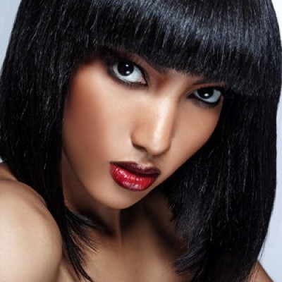 short bob with red lip atlanta makeup artist Mimi J