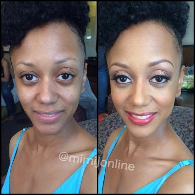 before and after makeup transformation Mimi J Makeup Artist Atlanta
